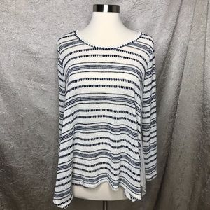 Pleione Cream Blue Striped Loose Knit Tunic Sz Sm